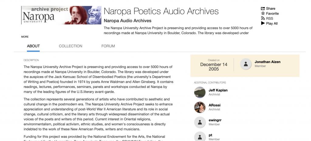 Naropa Poetics Audio Archiveの画像