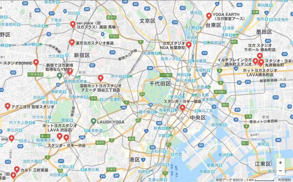 どれだけヨガ教室が多いのかまとめたマップ