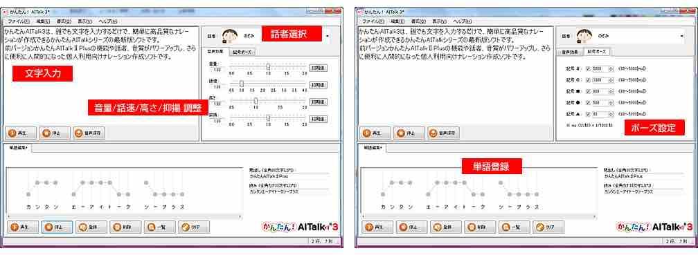「かんたん! AITalk 3」製品画面