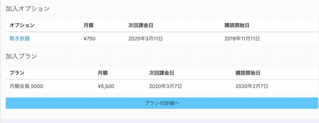 audiobook.jpで購読しているプラン